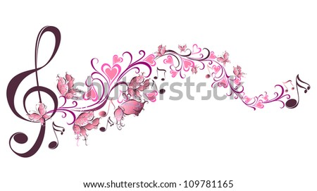Musical notes with butterflies - stock photo