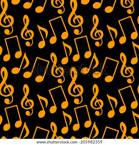 Musical seamless pattern with gold silhouettes music notes, treble clef on a black background - raster version - stock photo