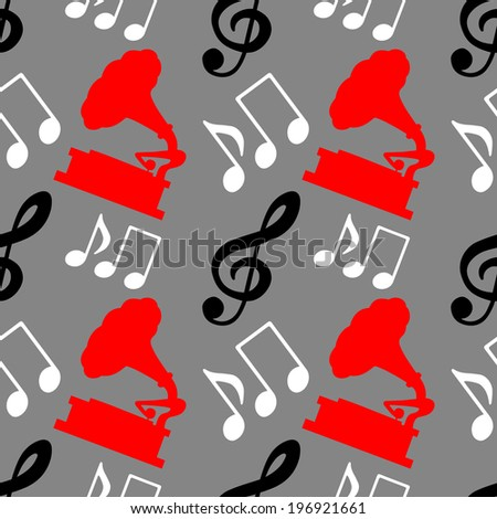 Musical seamless pattern with silhouettes music notes, treble clef, gramophone. Music background - raster version - stock photo