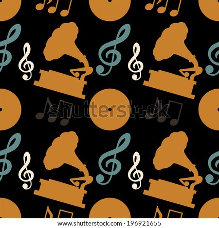 Musical seamless pattern with silhouettes music notes, treble clef, gramophone, vinyl record. Music background - raster version - stock photo