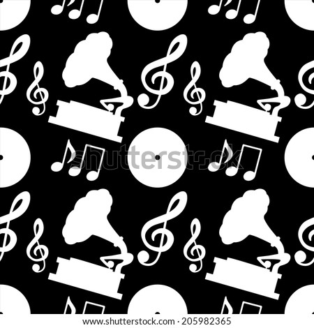 Musical seamless pattern with silhouettes musical notes, treble clef, gramophone, vinyl record in black and white. Music background - raster version - stock photo