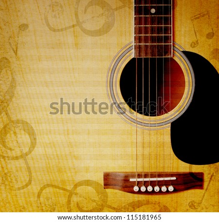 musical square background with guitar and musical notes - stock photo