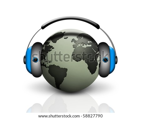 musical world globe - stock photo