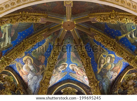 Musician Angels Renaissance Frescoes in the Vaulted Roof of the Presbytery of Valencia Cathedral, Spain - stock photo