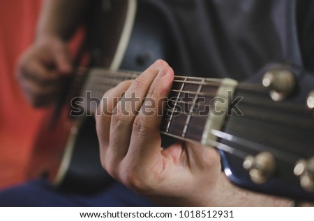 Musician Hands Playing Chords On Acoustic Stock Photo (Royalty Free ...