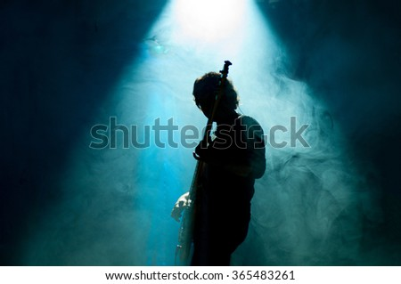 Musician is on the stage - stock photo