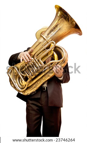 Musician is playing on the golden tuba. Isolated on white.