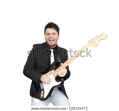 Musician isolated on white background - stock photo