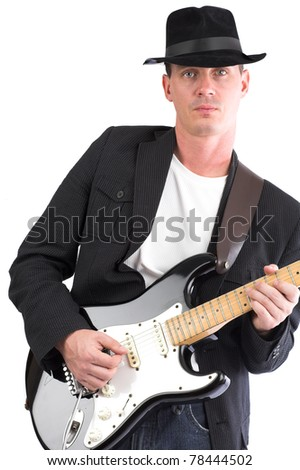 Musician - male playing electric guitar