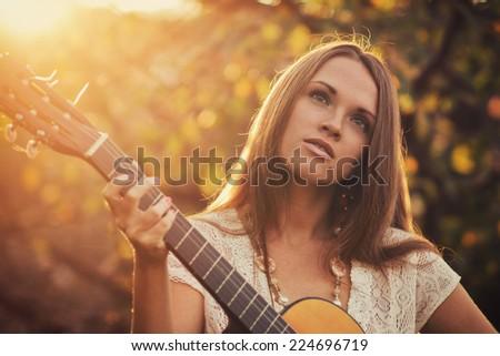 Musician outdoor - stock photo