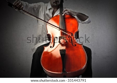 Musician playing a violoncello