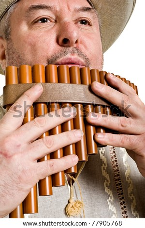 musician plays the flute  on a white background.musical wind instrument Nye.folk music