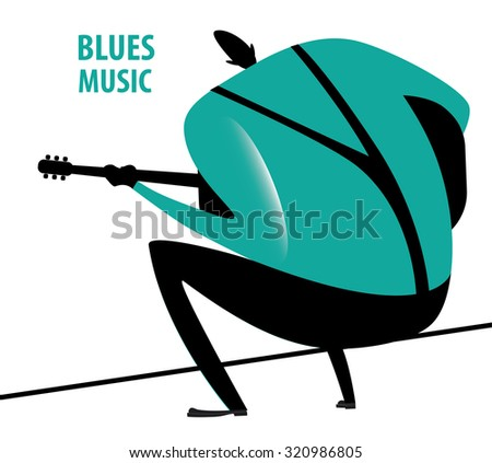 Musician sits and plays blues on guitar, back view | raster version - stock photo