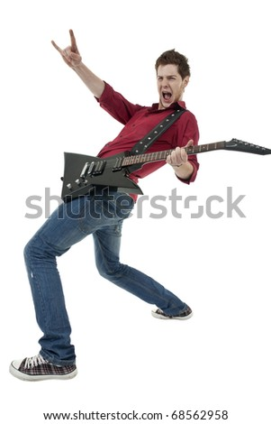 Musician with guitar gesturing rock sign over white