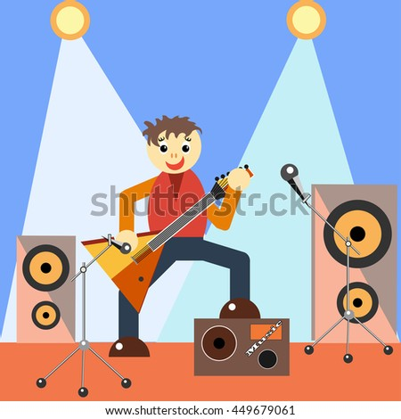 Musician with guitar on stage flat - stock photo