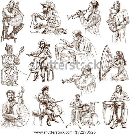 Musicians and Music around the World (set no. 2, white) - Collection of an hand drawn illustrations. Description: Full sized hand drawn illustrations drawing on white background. - stock photo