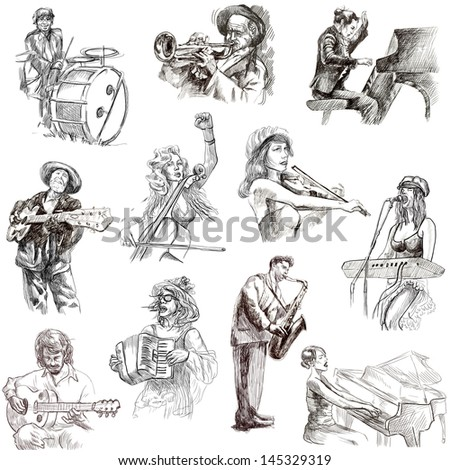 Musicians - Collection of an hand drawn illustrations. Description: Full sized, original, hand drawn illustrations isolated on white. - stock photo