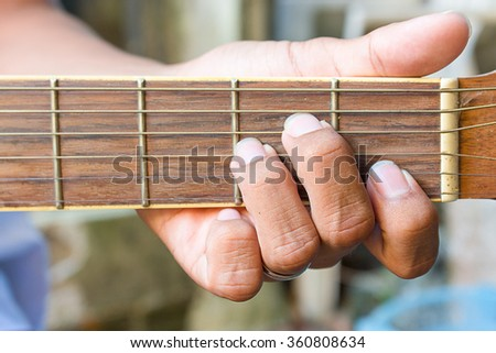 Musicians Hand Playing Acoustic Guitar Chords Stock Photo (Safe to ...