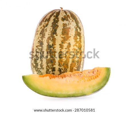 Muskmelons isolated on white background - stock photo