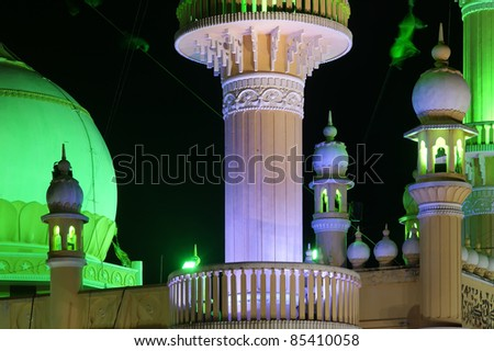 Muslim (Arab) Mosque, Kovalam, Kerala, South India - stock photo