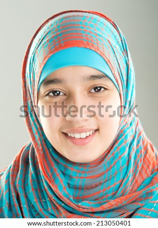 Muslim Arabic teenager girl - stock photo