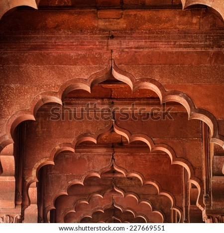 Muslim architecture detail of Diwan-i-Am, or Hall of Audience, inside the Red Fort in Delhi, India. - stock photo