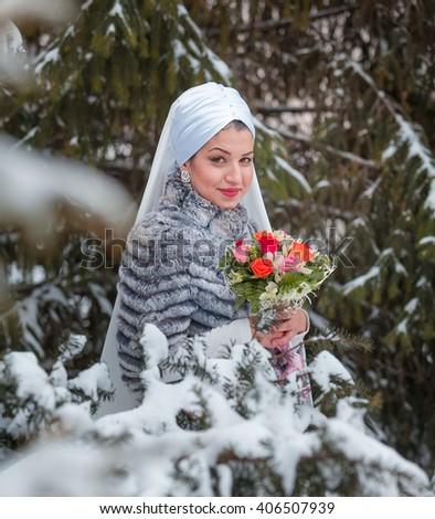 Muslim beautiful bride - stock photo