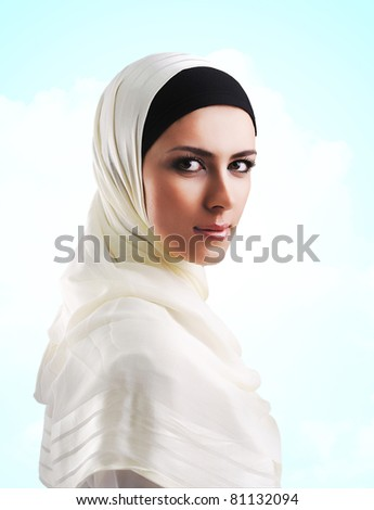 Muslim beautiful girl in Ramadan - stock photo