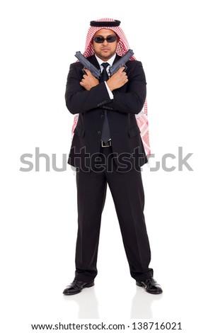 muslim body guard holding guns isolated on white - stock photo