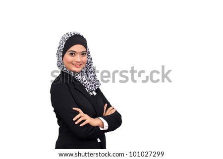 Muslim business woman with text space isolated on white