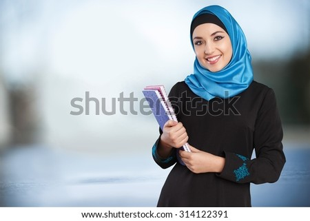 Muslim female student. - stock photo