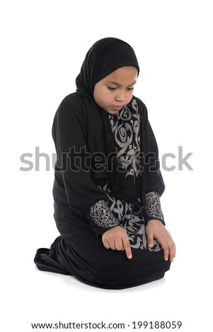 Muslim Girl Praying Isolated on White Background