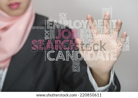 Muslim girl touch screen concept with Job Search wordcloud - stock photo