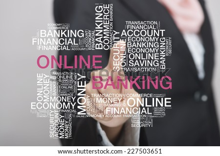 Muslim girl touch screen concept with Online Banking wordcloud - stock photo