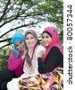 muslim girls - stock photo