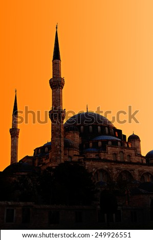 Muslim mosque at sunset.  - stock photo