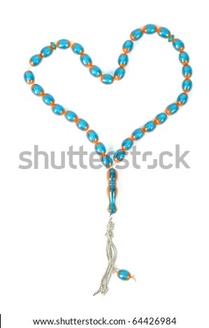 Muslim rosary beads, isolated on a white background