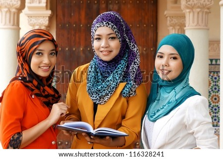 Muslim Student at the Campus - stock photo