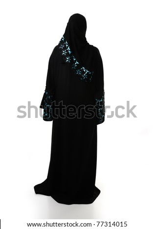 Muslim traditional woman, clothes from back, isolated - stock photo