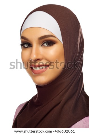 Muslim woman closeup isolated on white - stock photo