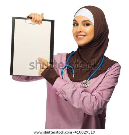 Muslim woman medical doctor isolated - stock photo
