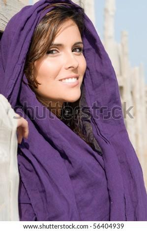 muslim woman with veil - stock photo