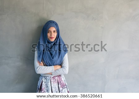 muslim young woman - stock photo