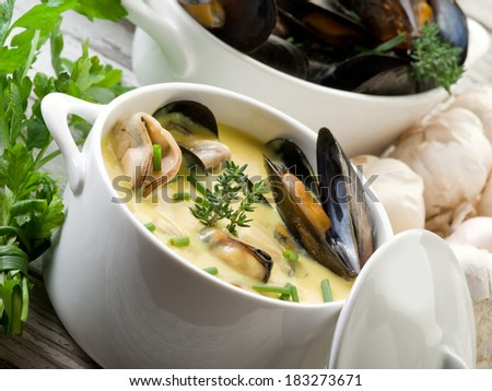 mussel soup with saffron and cream sauce - stock photo