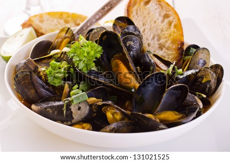 mussels cooked - stock photo
