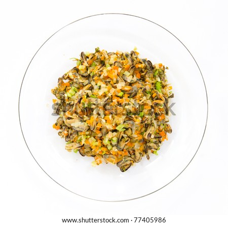 Mussels fried cheese add broccoli, onions and carrots - stock photo
