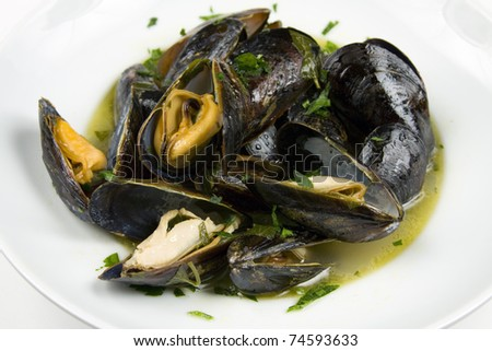 Mussels in white wine sauce - stock photo
