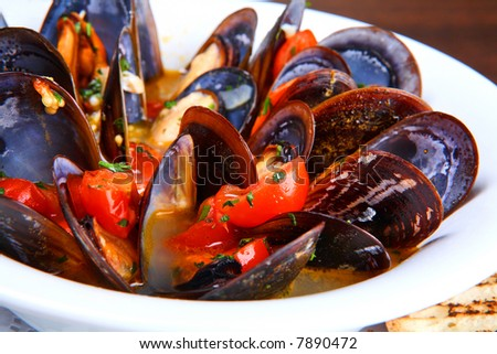 Mussels saute (ragout) - stock photo