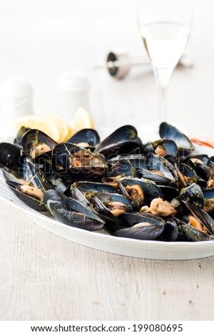 mussels stew - stock photo