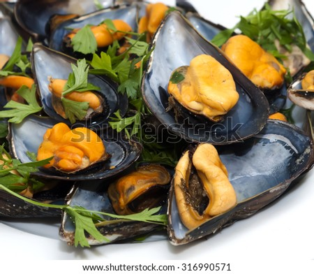 Mussels with parsley on white plate